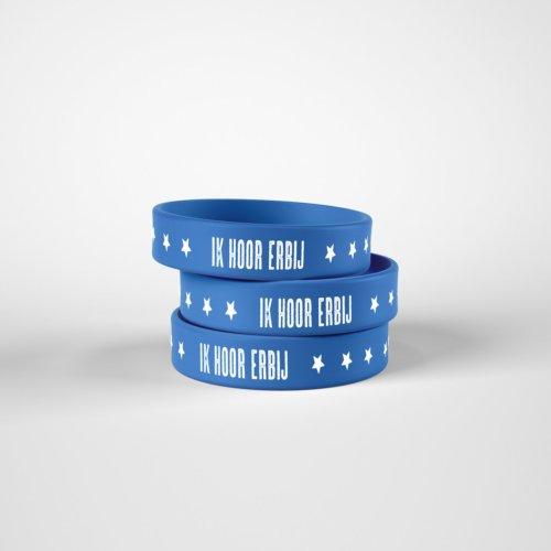 armbandjes met tekst ik hoor erbij blauw siliconen